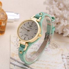 New rivet ladies casual candy color thin belt pu leather quartz watch 4 as picture