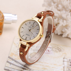 New rivet ladies casual candy color thin belt pu leather quartz watch 5 as picture