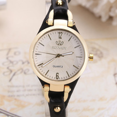 New rivet ladies casual candy color thin belt pu leather quartz watch 2 as picture
