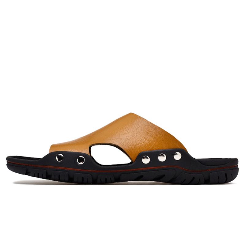abea108e0584b Men Flat Slippers Summer Casual Beach Shoes Indoor House Home Sandals Man  Non-Slip Flip Flops Shoes Light Brown 38