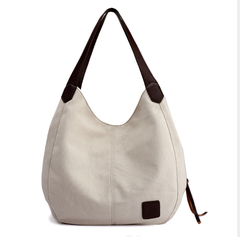 One-shoulder bag lady cloth bag canvas bag simple breathable fashion national style handbag white as shown in figure