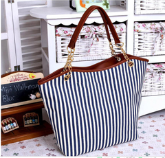 Best-selling new ladies bag fashion girls one-shoulder bag Blue and white stripes as shown in figure