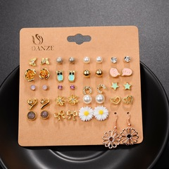 20 pairs of pearl bow earrings fashion explosion jewelry set Stud earring set one size