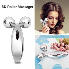 3D Massager Roller for Face Body Slimming Skin Tightening Facial Beauty Instrument Stereo Shaping silver