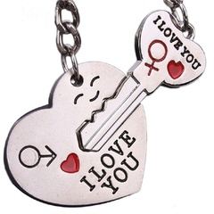 Couple I LOVE YOU Heart Ring Chain Lover Romantic Pendant Portable For Bag And Key keyring one size