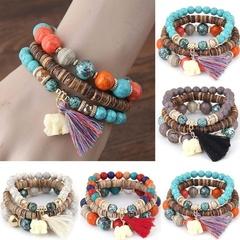 New Women Fashion Wood Beads Bracelets Boho Small Elephant Charm Bracelets Set Vintage Style Jewelry colorful one size