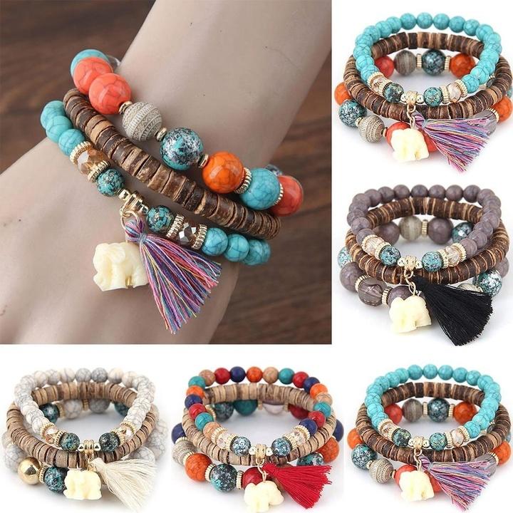 vente à bas prix acheter mieux comment chercher New Women Fashion Wood Beads Bracelets Boho Small Elephant Charm Bracelets  Set Vintage Style Jewelry colorful one size