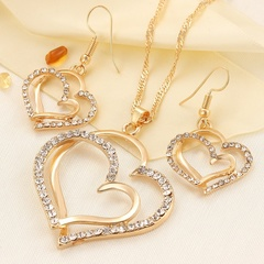 Princess Bride Bridesmaid Romantic Wedding Necklace Earring Set Fashion Luxury Crystal Heart gold one size