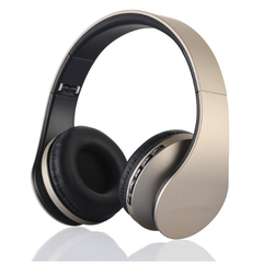 NEW Wireless Bluetooth Stereo Headset Foldable Headphone Earphone for iPhone Android black+gold