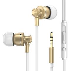 PTM D11 Super Bass earphone With Mic Volume Control Metal Earphone for huawei Phones Android gold