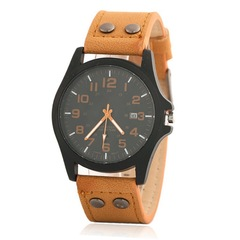 Men's Fashion Watch Quartz Wristwatches Leather Watch Fashion Accessory Valentine's Day Gift brown one size