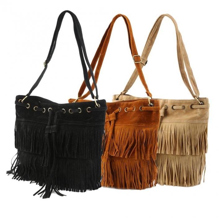 Women s handbag Suede Fringe Tassel Shoulder Bag Handbags Messenger Bag  Khaki one size 60e322c6e3bc3