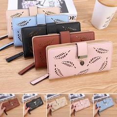 Women's bag Hollow Out Leaf Long Clutch Purse Card Holder Bifold Leather Wallet Black one size
