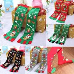 5 Fingers Socks Anime 5 Toes Socks Funny Autumn Winter Kids Christmas Cotton socks RED one size one size