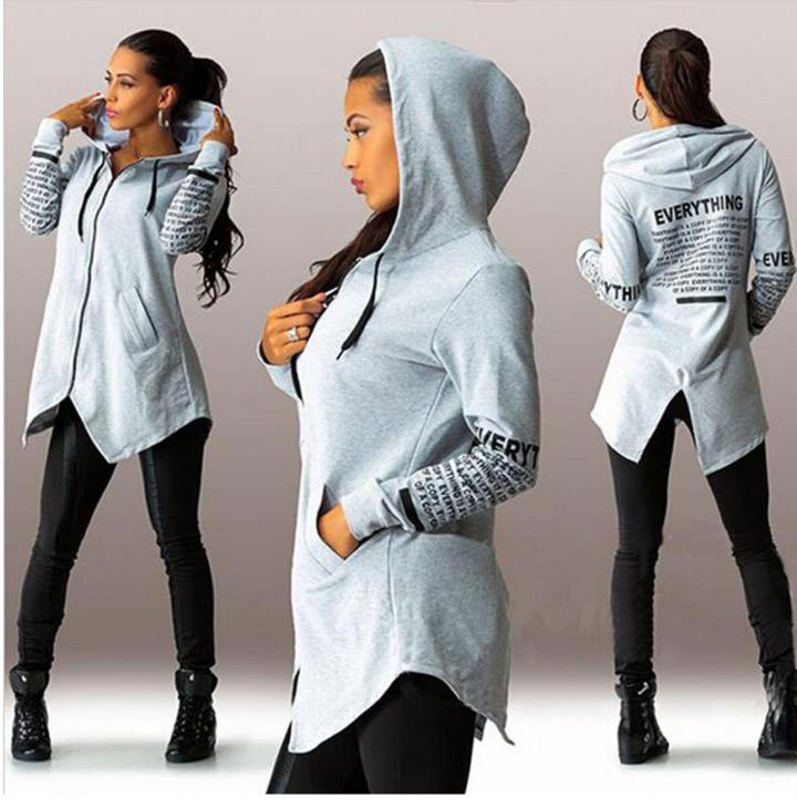 Womens Hoodies Cotton O-neck Long Sleeve Fashion Casual Style Sweatshirts Cartoon Print Tunic Hoodie