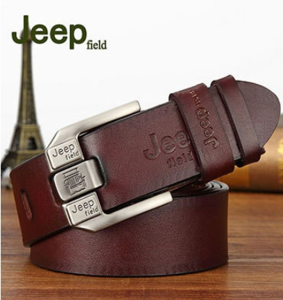 JEEP Fashion 100% Top Cow Buckle Genuine Leather Belt Black And Coffee Coffee One Size