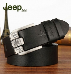 JEEP Fashion 100% Top Cow Buckle Genuine Leather Belt Black And Coffee Black One Size