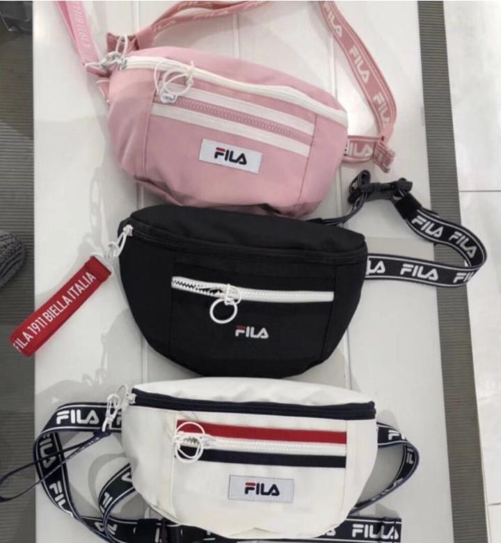 347c750d21a KPOP Fashion FILA Crossbody Casual Shoulder Bag Waist Bag For All Occasion  White 26CM 8CM