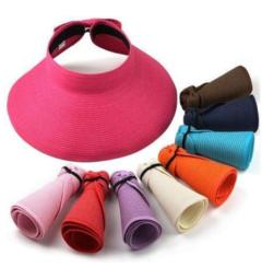Women Summer Sun Beach Hat Foldable Roll Up Wide Brim Straw Lady Visor Hats Cap purple