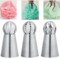3PCs/Set Cake Icing Nozzles Russian Piping Tips Lace Mold Pastry Decorating Tool Stainless Steel silver 3pcs