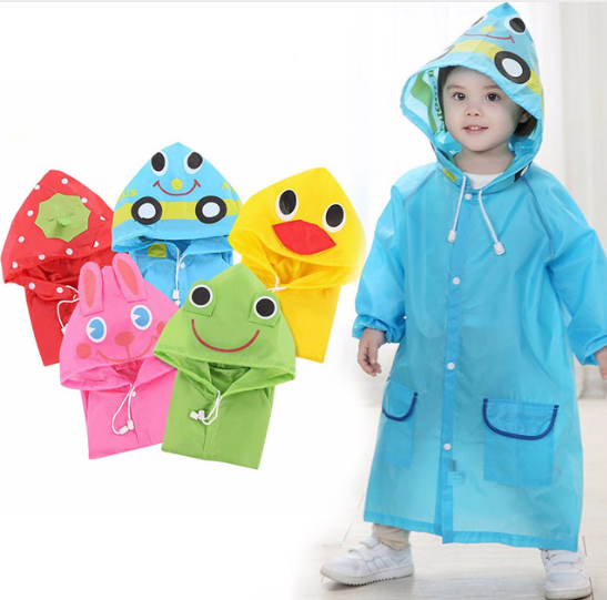 1PC Cartoon Animal Style Waterproof Kids Raincoat For Children Rain Coat Rainwear/Rainsuit Student yellow