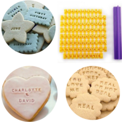 Alphabet Letter Number Cookie Press Stamp Embosser Cutter Fondant Mould Cake Baking Molds Tools yellow as show