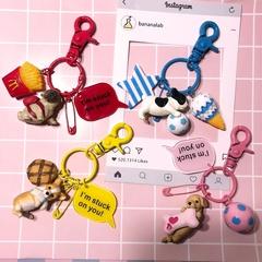 Cartoon Cute Puppy Dog Figurine Keychain Hanging Bag Pendant a other