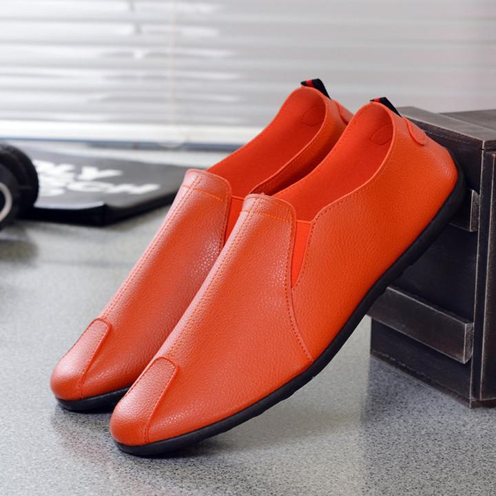 Fashion concise paragraph PU shoes men shoes casual shoes sneaker shoes ,flat shoes party shoes orange 42