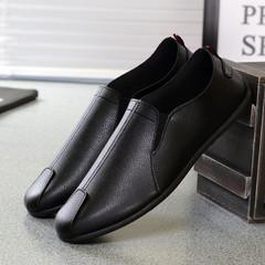 Fashion concise paragraph PU shoes men shoes casual shoes sneaker shoes ,flat shoes party shoes black 44