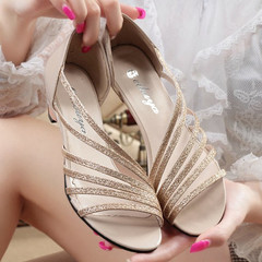 TOTO male shoes,Ladies  heels,womens shoe fringed hollow fashion  shoes sandals,party shoes gold 35