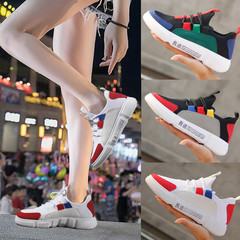 Splicing flat shoes girls shoes women shoes casual shoes sport shoes female shoes fashion sneakers white&red 36