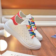 TOTO PU women shoe flat shoes casual shoes lady shoes girls shoes female shoes white&orange 36