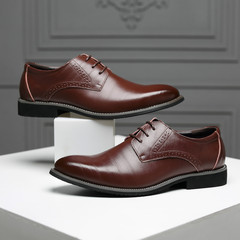 TOTO Gentleman Business flat shoes men shoes formal shoes party shoes casual shoes leather shoes brown 39 Super Fibre Leather