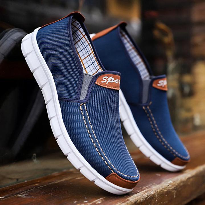 TOTO Doudou men shoes men flat shoes canvas shoes party shoes casual shoes loafers shoes male shoes dark blue 41