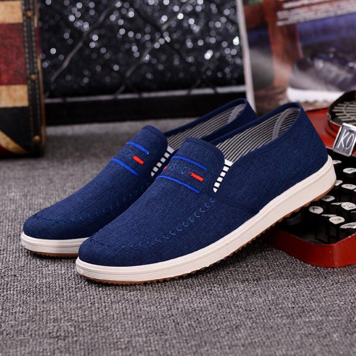 TOTO  men shoes men flat shoes canvas shoes party shoes casual shoes loafers shoes male shoes dark blue 40