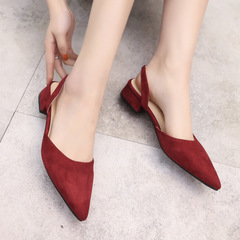New style sharp-toed sandals suede low-heeled casual women shoes women shoes heels explosive sandals red 36