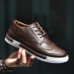 TOTOFIRE shoes men shoes PU shoes flat shoes male shoes PARTY shoes casual shoes formal shoes brown 39 Super Fiber