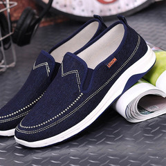 Gentlemen handsome jeans canvas shoes men shoes loafers casual shoes flat shoes party shoes slippers Dark blue 41