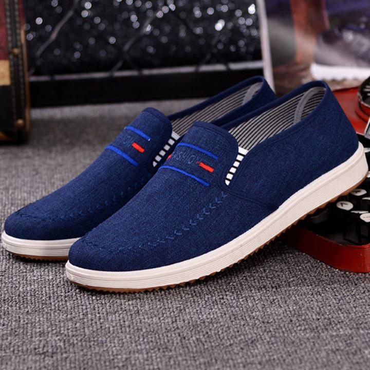 TOTO  men shoes men flat shoes canvas shoes casual shoes loafers shoes male shoes sneakers shoes dark blue 41