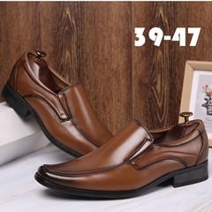 TOTO formal shoes men shoes formal men shoes flat shoes party shoes casual shoes PU leather shoes brown 39 artificial pu