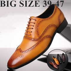 TOTO formal men shoes flat shoes formal shoes party shoes men shoes PU leather shoes YELLOW 39 artificial pu
