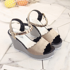 New summer sandals thick-soled women heels Shoes women heels women shoes wedges heels for women LINGHT GREY 36