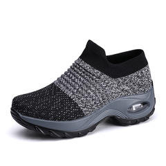 Heightening shoes women shoes mesh shoes flat female shoes sport shoes casual shoes fashion sneakers black 36