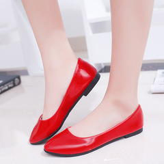 2018 New Women Fashion Flat Patent Leather Round Toe Work Shoes and Slip on Flats Shoes Plus Size RED 35