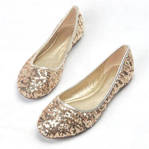 Classic Womens Gliiter Sequined Flats  Ballerina Flat Shoes BEYARNE black 35