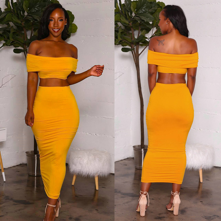 Runway Designer Ladies Sexy Two Piece Set Women Elegant Yellow Off Shoulder Top + Pencil Skirt Suit yellow S