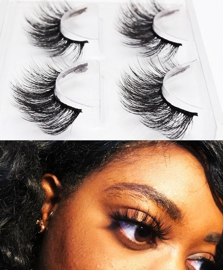 Two Pair 3D Mink Eyelashes Long Lasting Natural Dramatic Volume Eyelashes Extension False Eyelashes one color