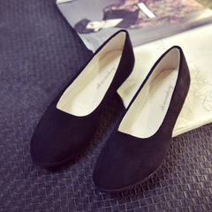 Women Fashion Flat Suede Point Toe Work Shoes and Comfortable Slip on Flats Shoes Plus Size black 35