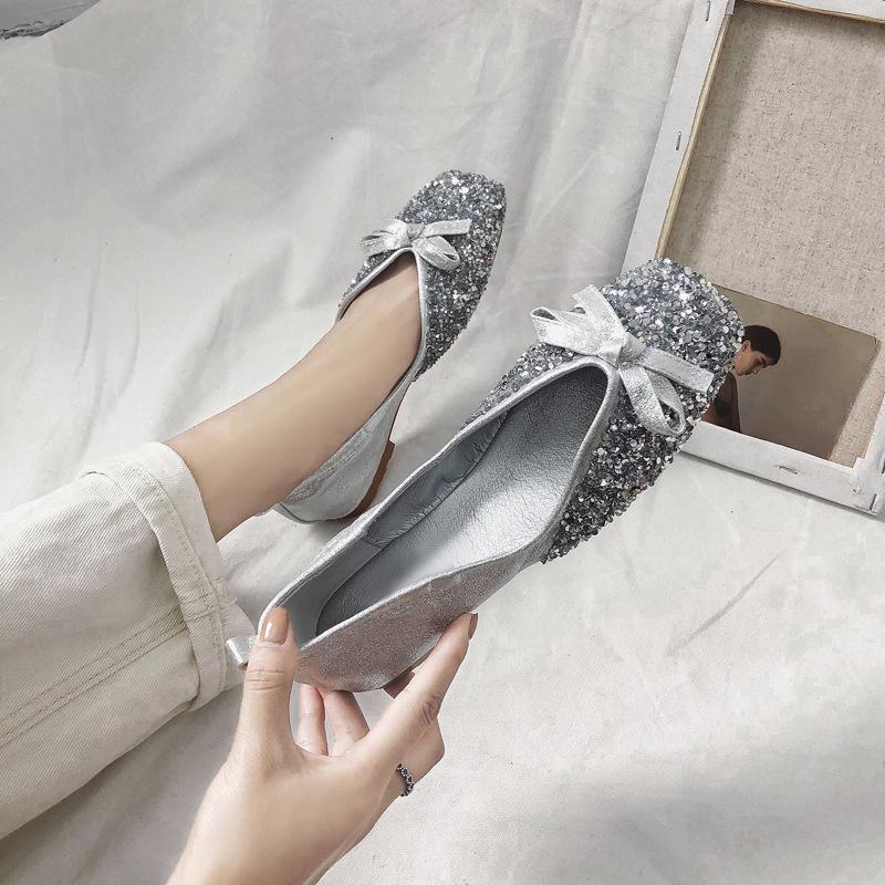 b58ce7b3700 Bow Bling Sequined Flat Shoes Women Flat Toe Elegent Black Silver ...