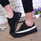 Running Shoes for Woman Couple Breathable Outdoor Sport Trainers Sneakers Cushioning Male Shockproof black/white 35